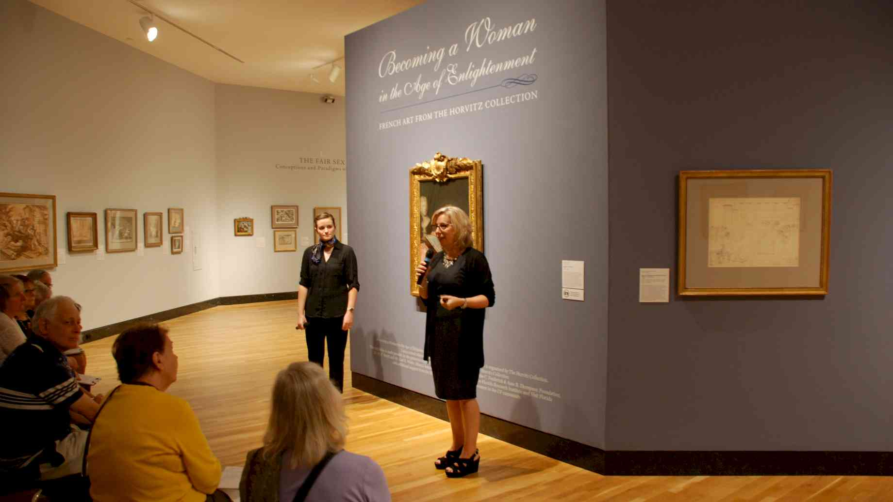 Prof. Hyde & PhD student, Maura Gleeson, giving a gallery talk at the Harn