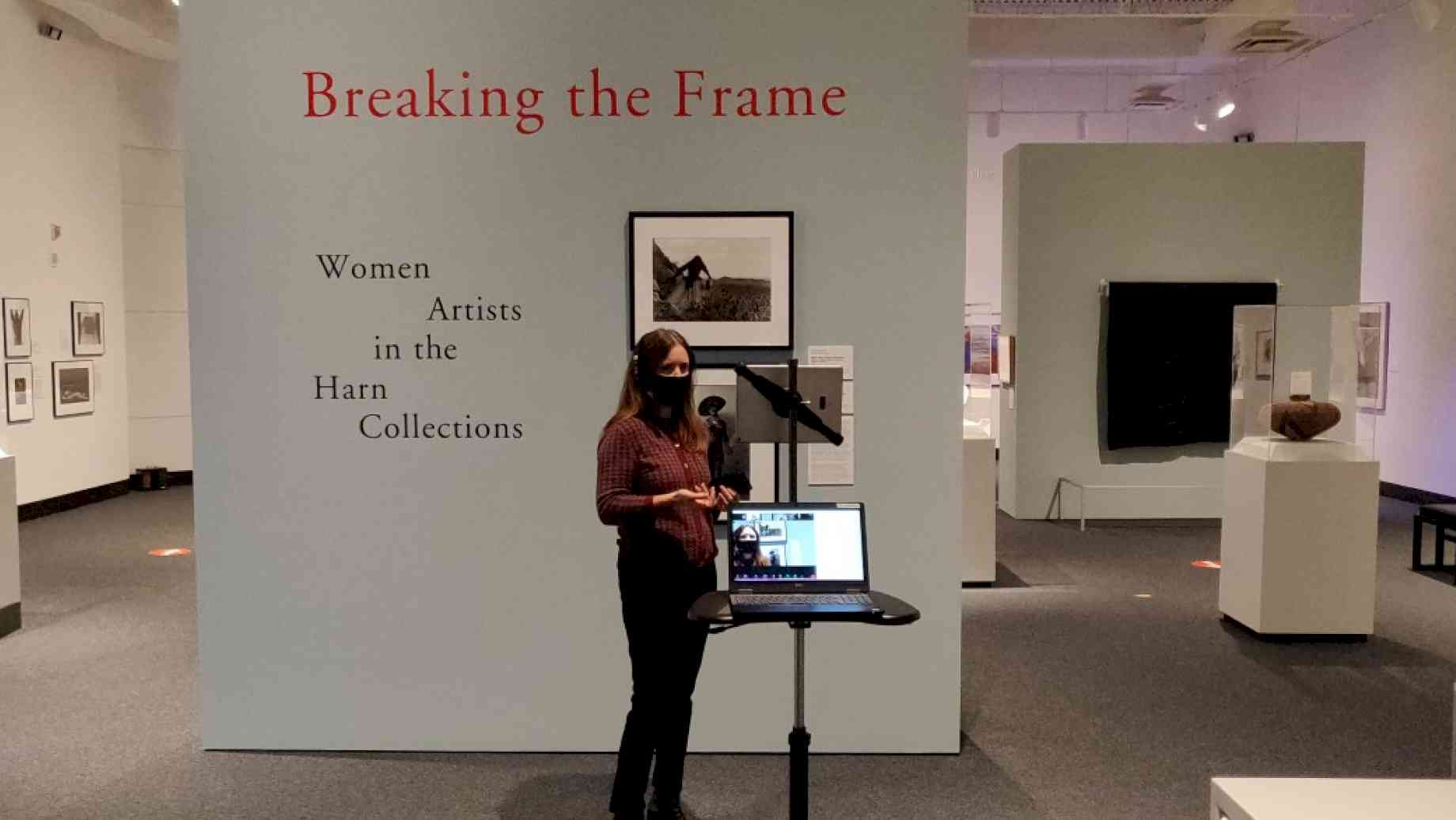 Professor Stanfield-Mazzi teaches a virtual class from the Harn Museum of Art, Fall 2020