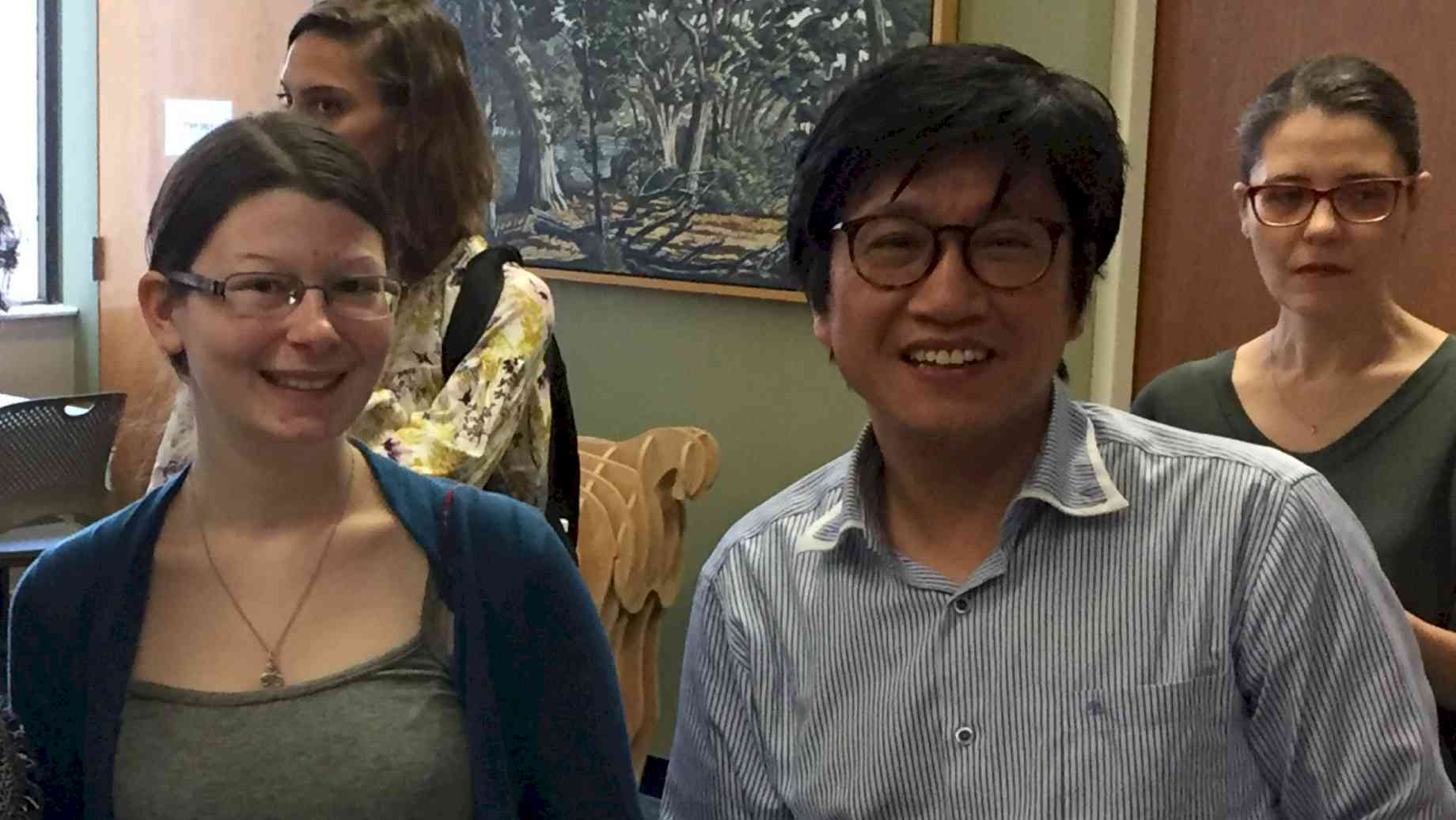 Prof. Lai and student at annual Cake & Conviviality reception