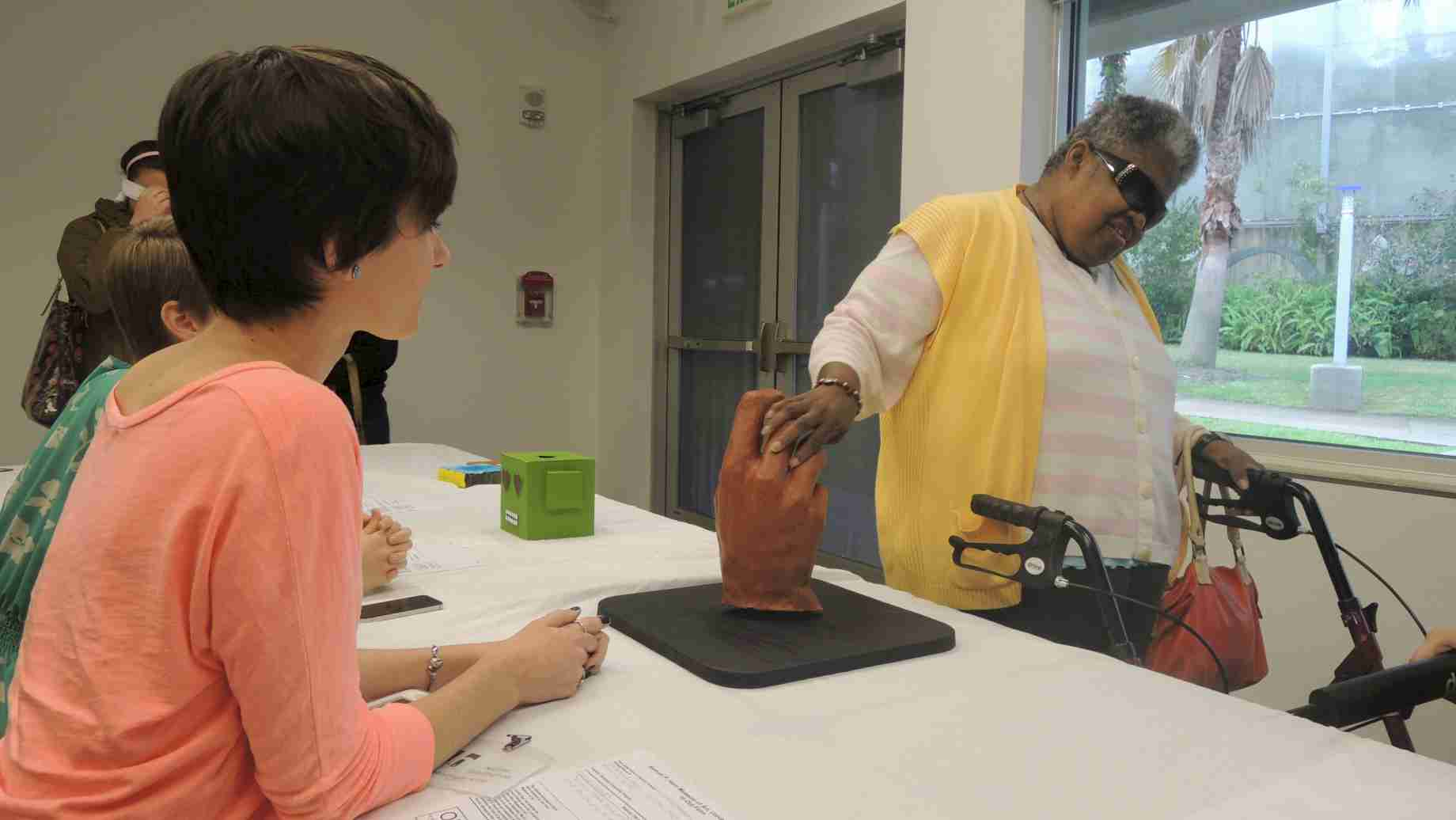 Undergraduate art education students created touchable artworks for a Mindsight exhibit at the Harn Museum.