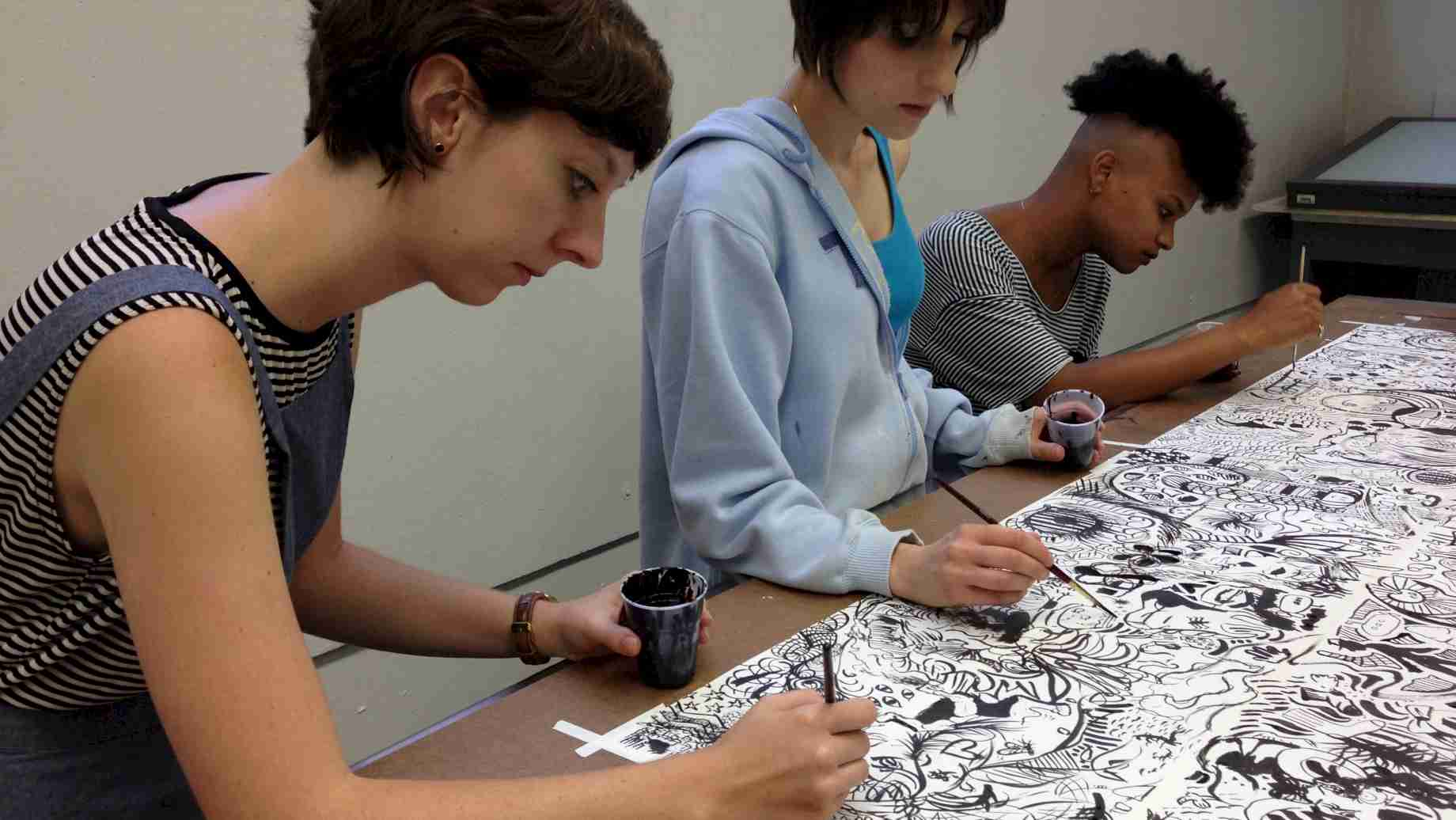 Collaborative Drawing: Students use a variety of collective and individual approaches to make work, such as the Sumi Ink Club model