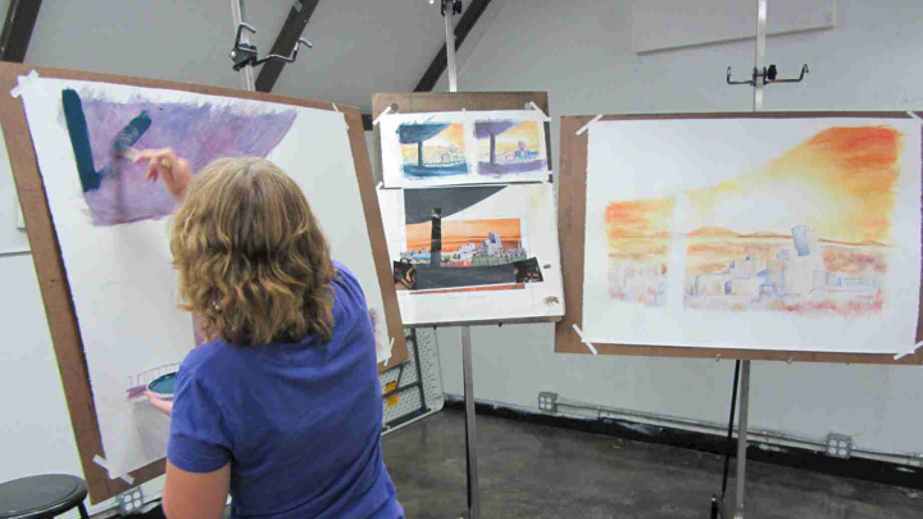 Color Drawing: Through preliminary sketches and long-term preparations, students actualize ambitious goals