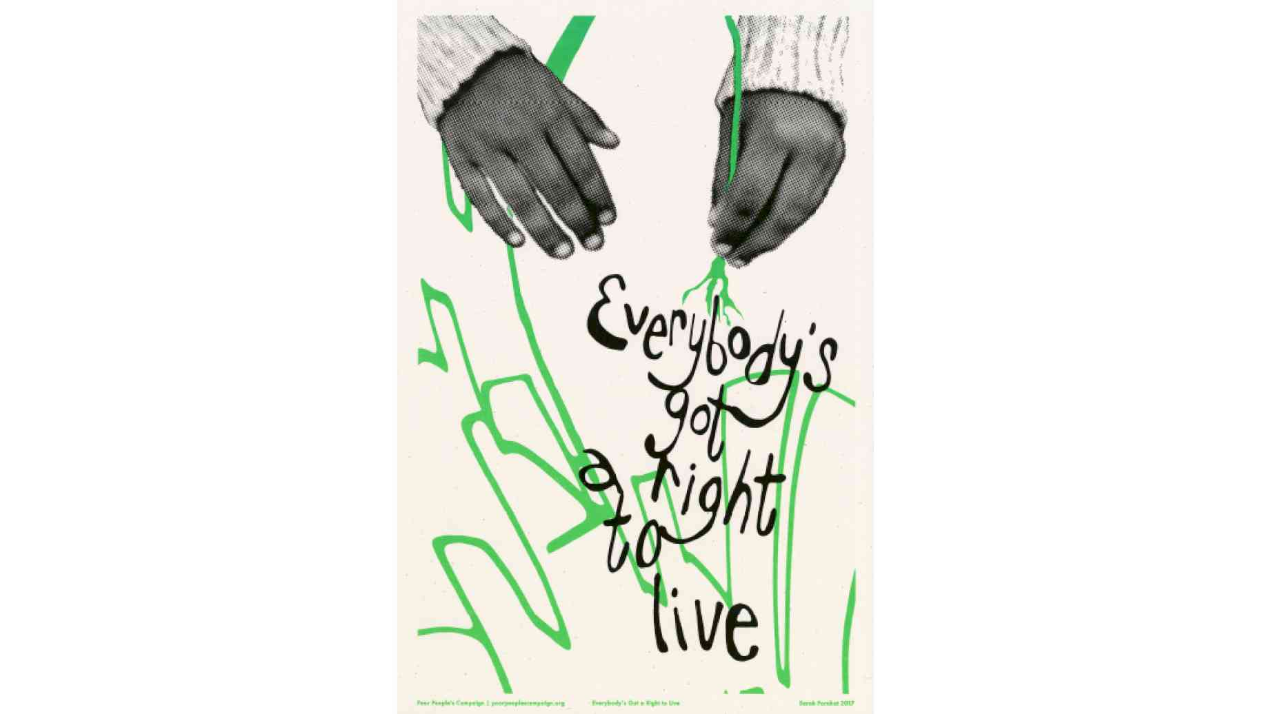 "Grainy black and white hands with wool sweater writs tug downward on the end of a drawn green line, which forms shapes below like buildings or plants. Scrawled atop the line in black are words that read ""Everybody"