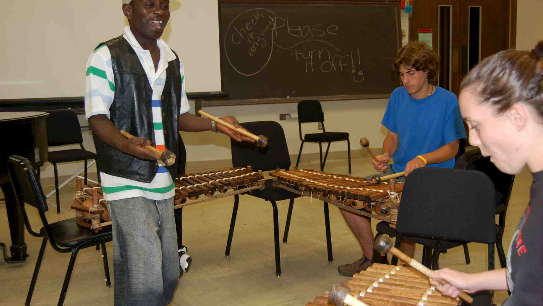 Five-time Artist-in-Residence, Abou Sylla of Guinea, teaching balafon to music students.