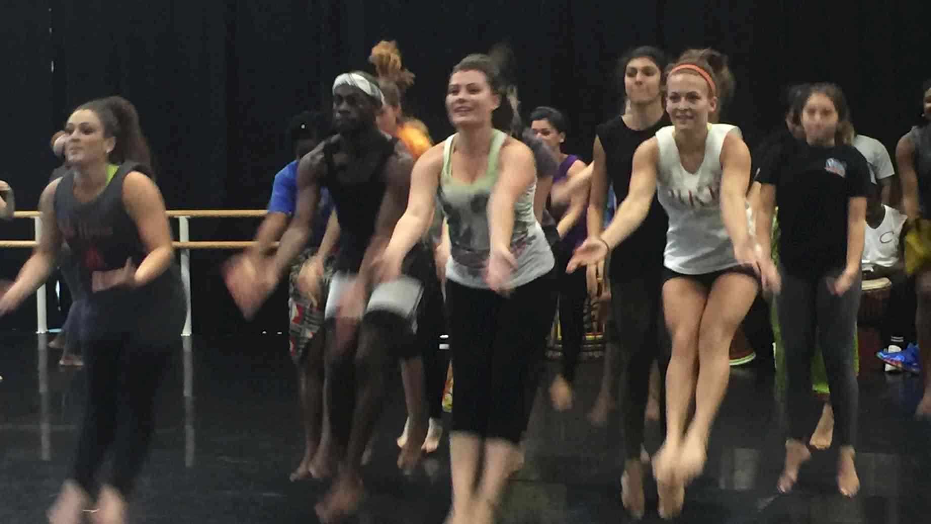 West African Dance students being instructed by Juliana Azoubel during her Guest Artist residency at UF in Fall 2016.