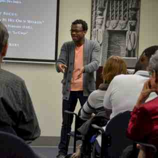 TACAC artist and partner Faustin Linyekula (DRC) lectures on the interface of dance and development at the UF Center for African Studies.