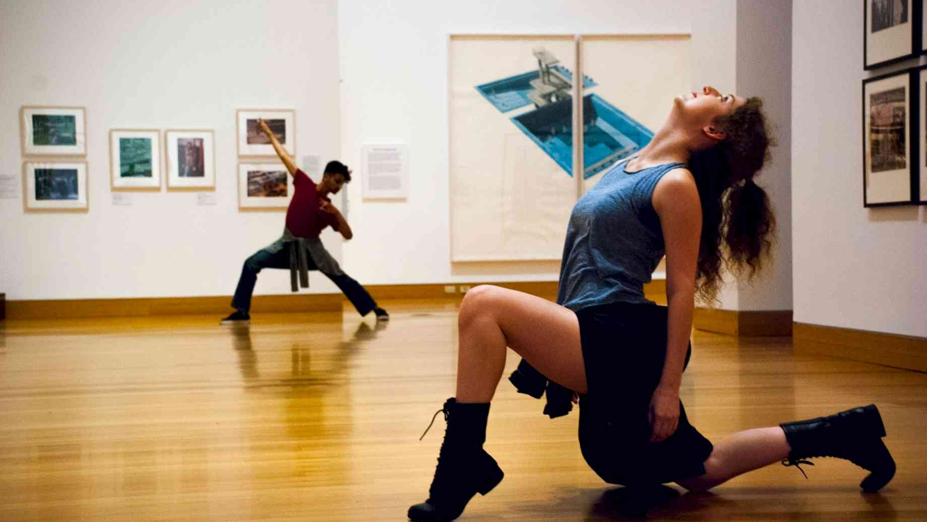 Esrom Williams (BFA Dance 2017) and Breena Cocco (BA Dance 2017) in duet in the contemporary wing of the Harn Museum.