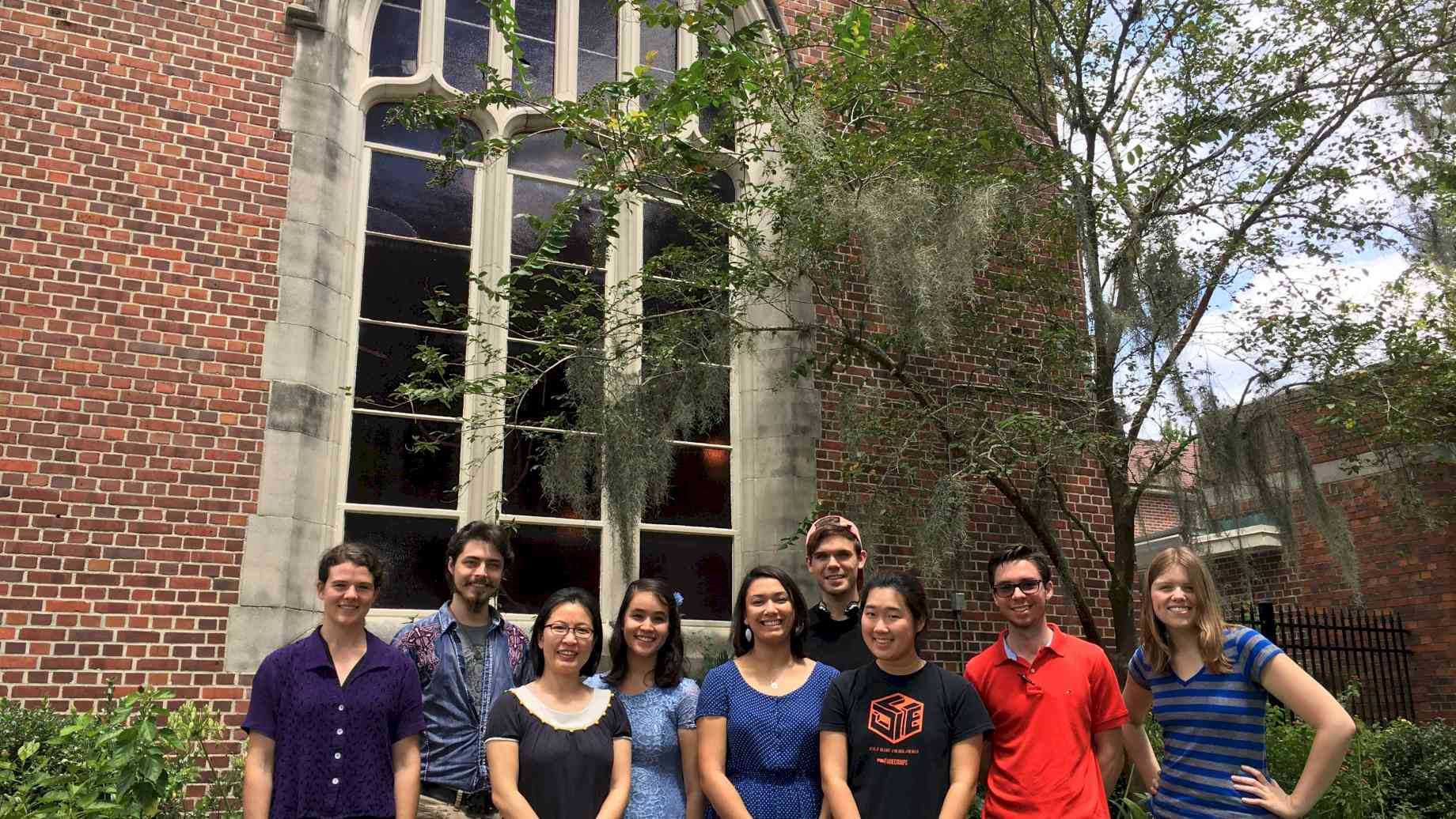 Members of the Fall 2017 Organ Studio in front of the Chapel of the Incarnation, UF