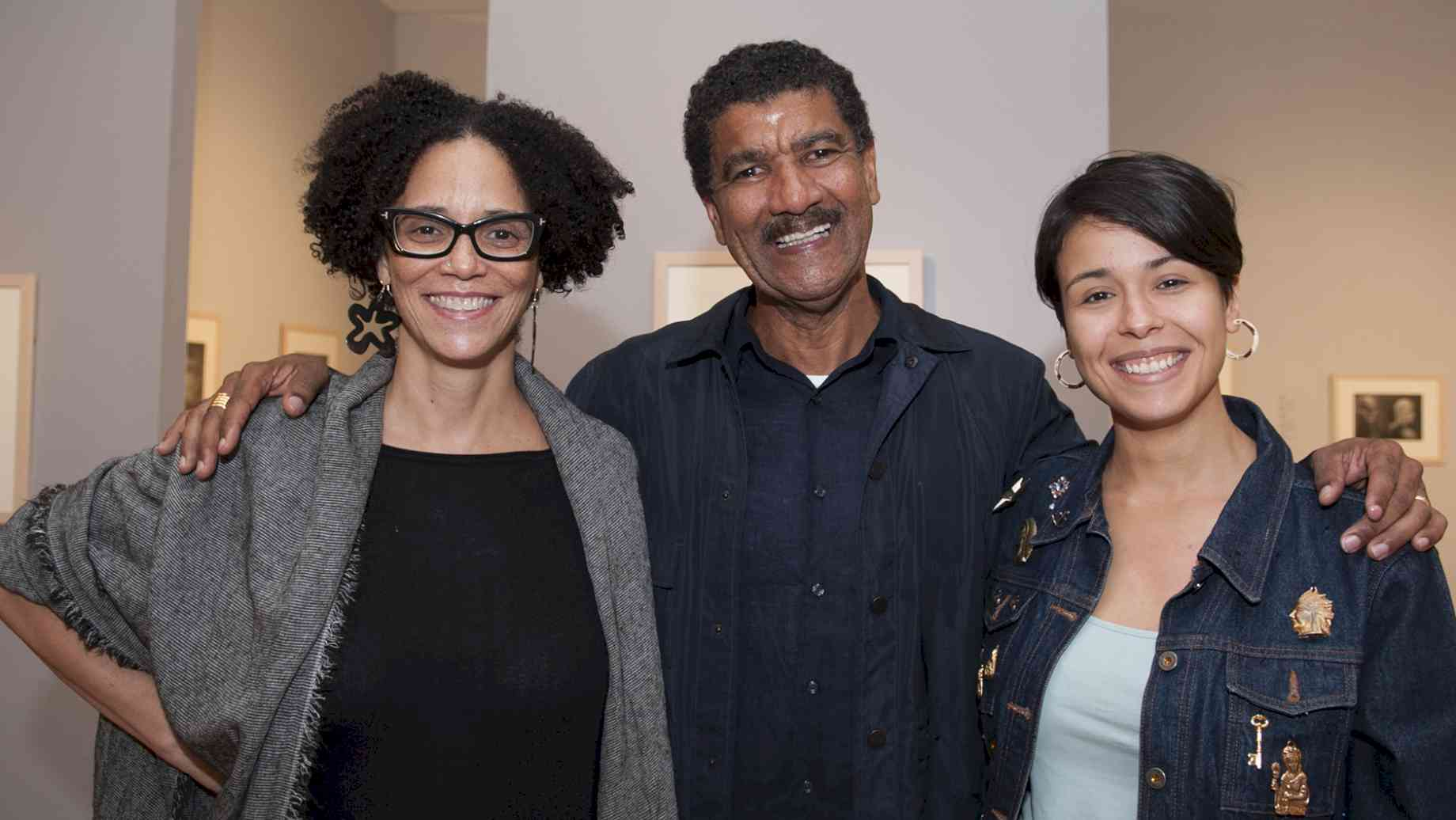 Visiting Artist Pepón Osorio with Professor Coco Fusco (left) and Art + Tech grad student Gia Del Pino (right)